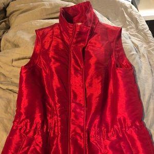 Silky puffer vest, light weight, red